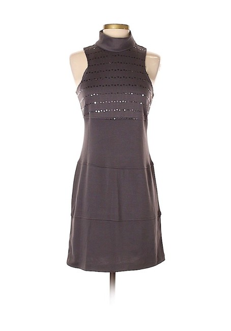 Item - Grey Solid Sequined Striped Mid-length Night Out Dress Size 6 (S)