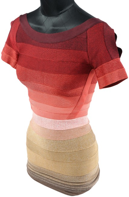 Item - Multicolor Colorfull Short Sleeve Bandage Mid-length Night Out Dress Size 6 (S)
