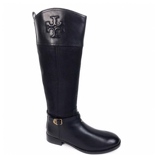 Item - Black Simone Low Heel Logo Leather Knee High Riding Boots/Booties Size US 7.5 Regular (M, B)