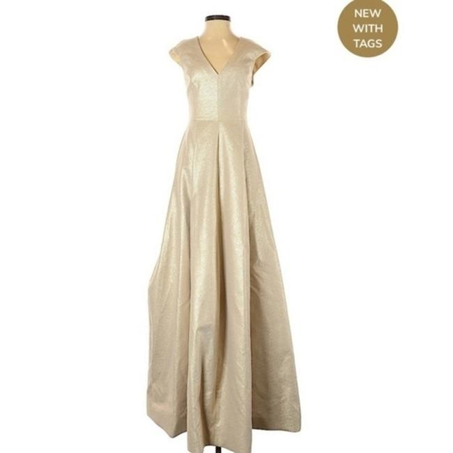 Item - Gold Heritage V-neck Cap-sleeve Silk Faille Evening Gown Long Formal Dress Size 2 (XS)