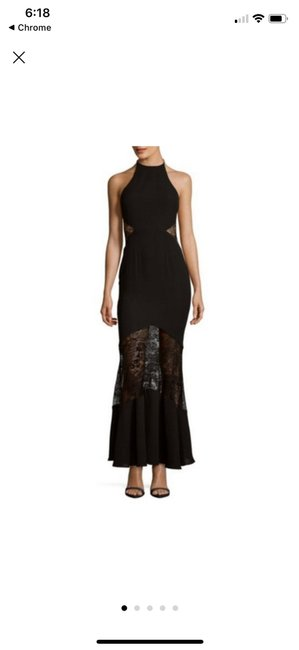 Item - Black W Halter Gown W/ Lace Cut Out Long Formal Dress Size 0 (XS)
