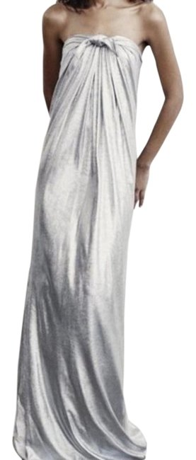 Item - Silver Heritage Strapless Bow Long Formal Dress Size 8 (M)
