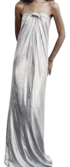 Halston Silver Heritage Strapless Bow Long Formal Dress Size 8 (M) Halston Silver Heritage Strapless Bow Long Formal Dress Size 8 (M) Image 1