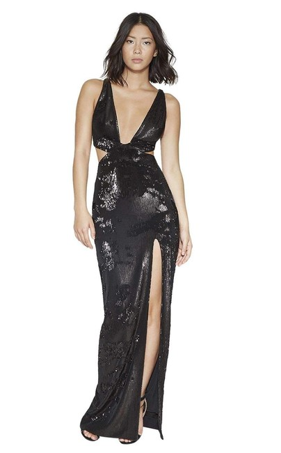 Item - Black Heritage Cut-out Sides Sequin Gown Long Formal Dress Size 2 (XS)