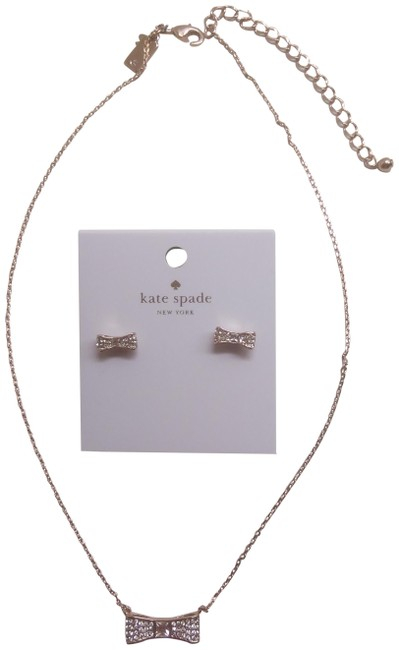 Item - Gold New Pave Bow Necklace and Earrings