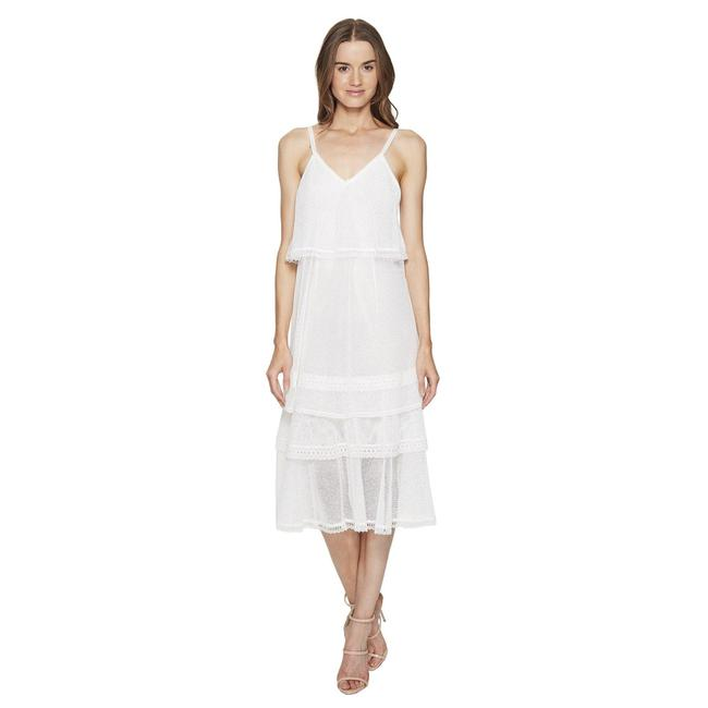Item - White Off- White Sleeveless Mesh Layered Cotton Voile Slip Cover Long Cocktail Dress Size 8 (M)