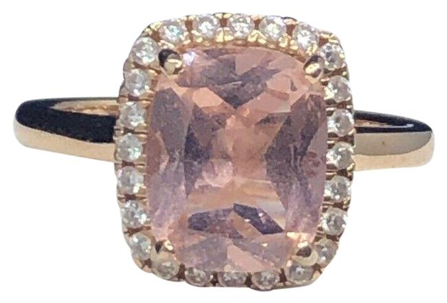 Item - Rose Gold Pink Over Sterling Silver Morganite Halo Size 7 Ring