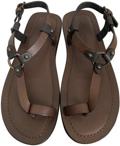 Saint Laurent Leather Ankle Strap Brown Sandals