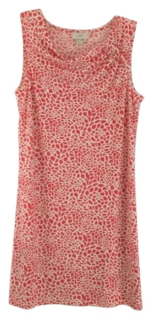 Item - Red & White Print Drop Neck Sleeveless Mid-length Short Casual Dress Size 10 (M)
