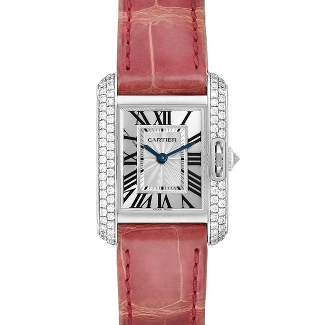Item - Flinque and Silvered Box Tank Anglaise White Gold Diamond Ladies Wt100015 Watch