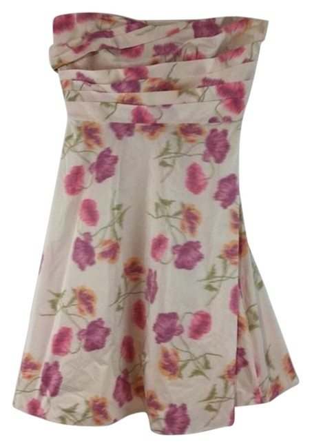 Item - White & Pink Print Sleeveless Halter Mid-length Short Casual Dress Size 12 (L)