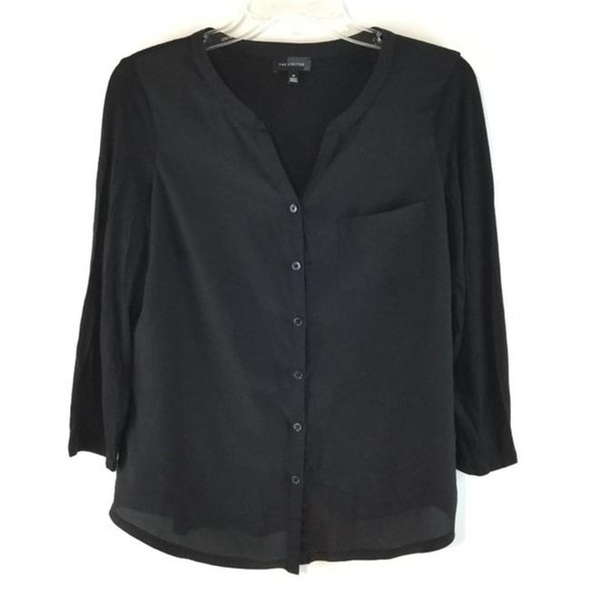 Item - Black Button Down Long Sleeves Blouse Size 8 (M)
