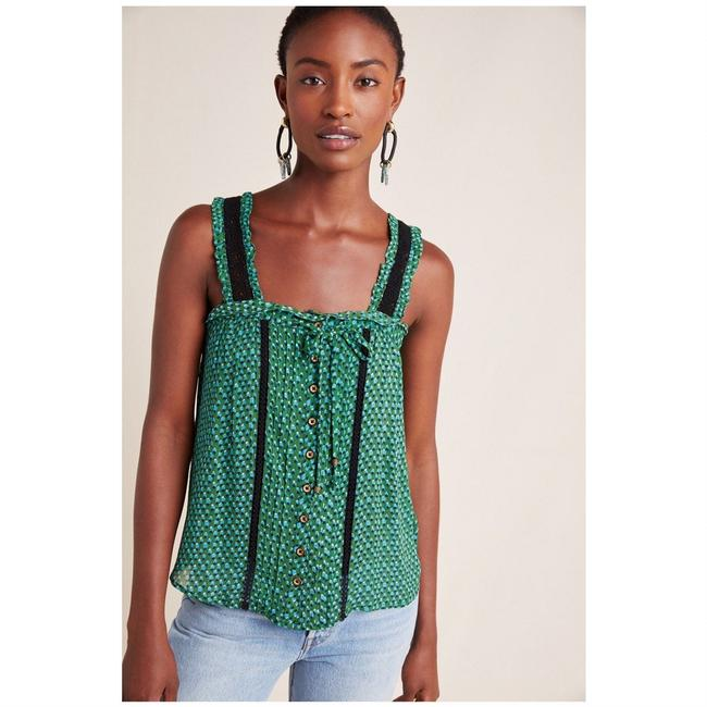 Item - Green Bardot Blouse Printed Crochet Lace Sleeveless Button-down Top Size 2 (XS)