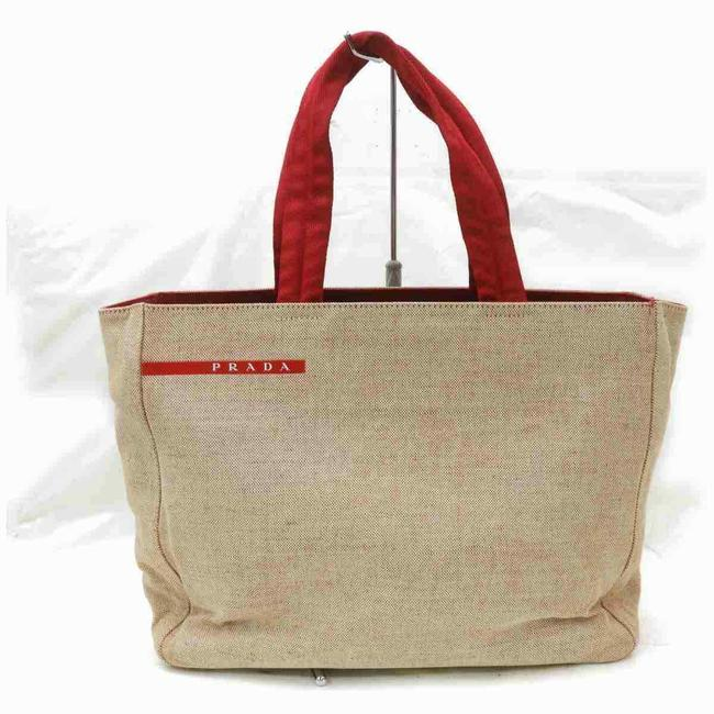 Item - Beige X Linen 872999 Red Canvas Tote