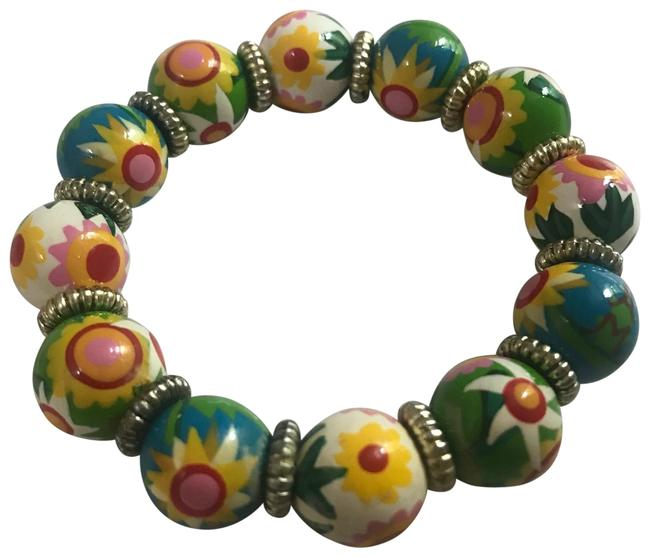 Item - Green Yellow Red Nwot Hand Painted Multicolor Classic Bead Bracelet