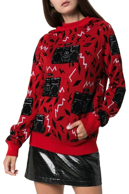 Item - Red Hand-knitted Beatbox Intarsia Sweatshirt/Hoodie Size 4 (S)