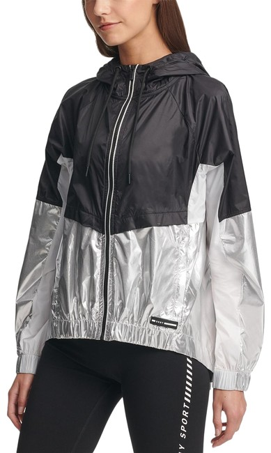 Item - Black/White/Silver Sport Women's Colorblocked Hooded Lightweight Activewear Outerwear Size 8 (M)