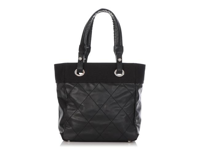 Item - Biarritz Small Part Quilted Black Canvas Tote