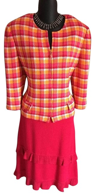 Item - Pink Yellow White 2pc Jacket 10 Skirt Suit Size 12 (L)