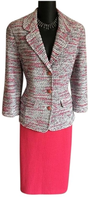 Item - Pink Gray White 2pc Jacket 12 Skirt Suit Size 10 (M)