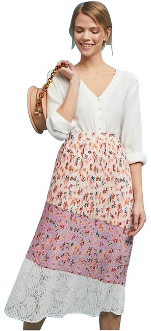 Anthropologie White Floral Skirt Size 8 (M, 29, 30) Anthropologie White Floral Skirt Size 8 (M, 29, 30) Image 1