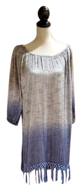 Item - Blue Boho Shift Tunic Mid-length Short Casual Dress Size 16 (XL, Plus 0x)