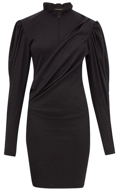 Item - Black Divya Puff Sleeve Ruched Fr34 / Us2 Mid-length Night Out Dress Size 2 (XS)
