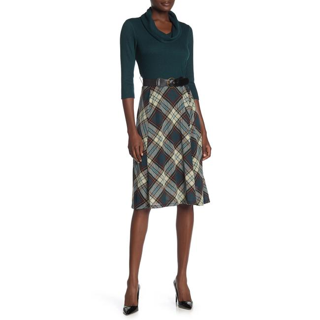 Item - Multicolor Plaid Skirt Belted Cowl Neck Midi Mid-length Work/Office Dress Size 16 (XL, Plus 0x)
