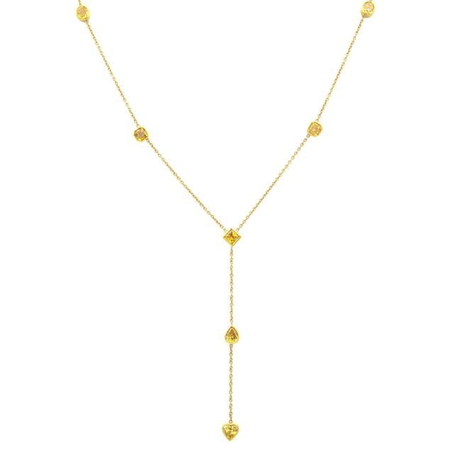 Item - 18k Yellow Gold Fancy Different Shapes Diamond By The Yard Necklace