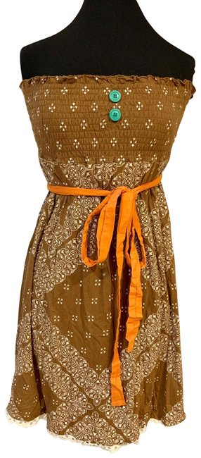 Item - Brown 1156 Mid-length Short Casual Dress Size 8 (M)