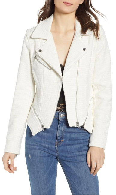 Item - Off White Tweed Fitted Zipper Moto Jacket Size 4 (S)