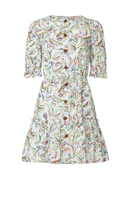 Item - White/Multi Wildflower Billie C Cotton Short Casual Dress Size 6 (S)
