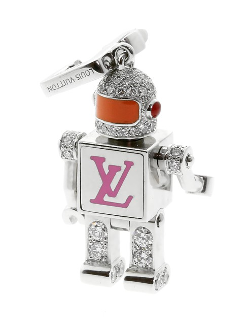 Item - White Gold Diamond Spaceman Charm Pendant 199