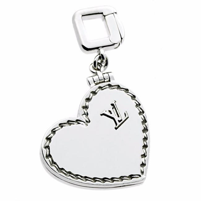 Item - White Gold Heart Locket Charm Pendant 196