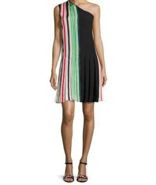 Item - Multi Color One-shoulder Pleated Ribbon Short Casual Dress Size 2 (XS)