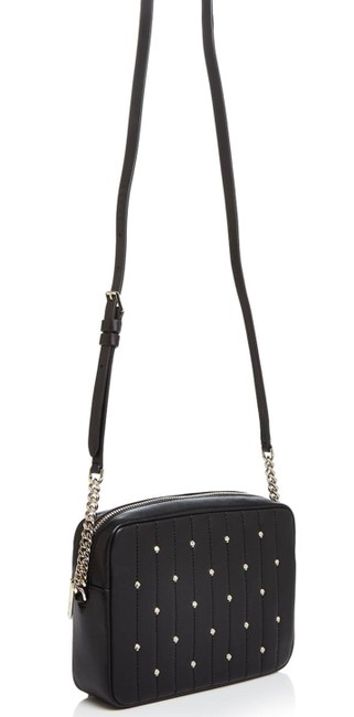 Item - Camera Quilted Inky Black Lambskin Leather Cross Body Bag