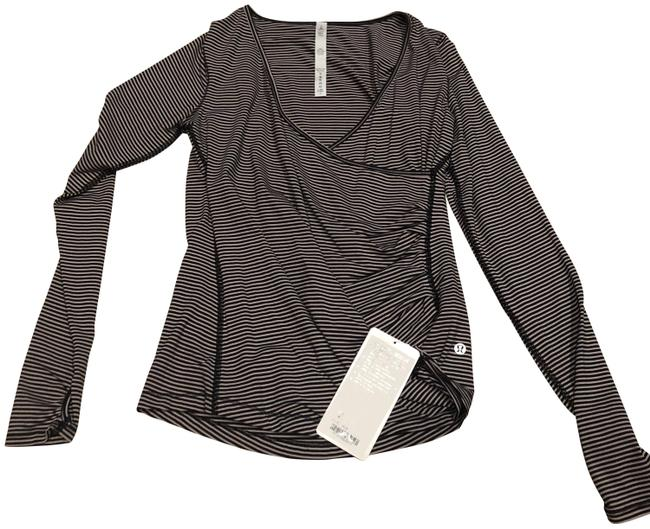 Item - Black and White Sunset Salutation Ls Long Sleeved Criss Cross Tee Shirt Size 8 (M)