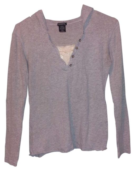 Eyeshadow Gray Lace Hooded T Shirt