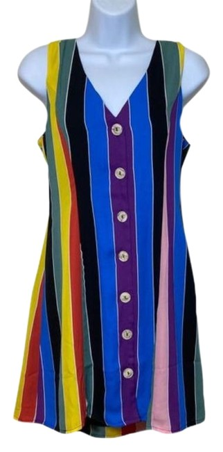 Item - Rainbow Button Up Short Casual Dress Size 6 (S)