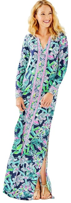 Item - Blue/White/Green Upf 50 Faye Sway This Way Engineered Long Casual Maxi Dress Size 0 (XS)