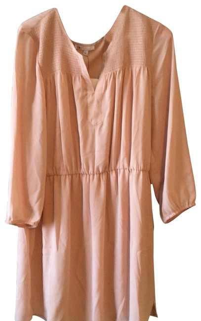 Item - Pale Blush Textured Yoke Smoke Short Casual Dress Size 12 (L)