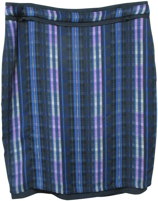 Item - Blue Purple Gray Plaid Satin Pencil Slit New Skirt Size 14 (L, 34)