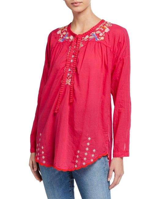 Item - Red Dragonfly Tie Embroidered Blouse Tunic Size 6 (S)