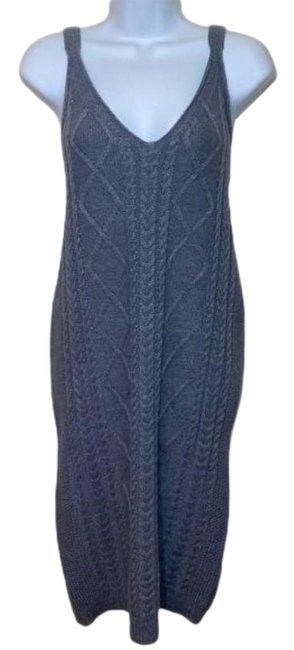 Item - Grey Cable Knit Sleeveless Mid-length Short Casual Dress Size 10 (M)