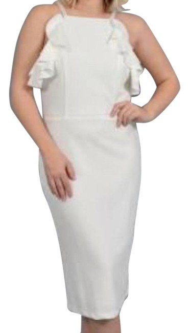 Item - Off White/Ivory Beaded Strap Ruffle Sheath Mid-length Cocktail Dress Size 14 (L)