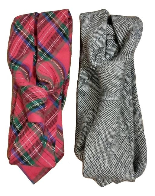 Item - Red and Gray Bundle Lot Of 2 Plaid Ties Scarf/Wrap
