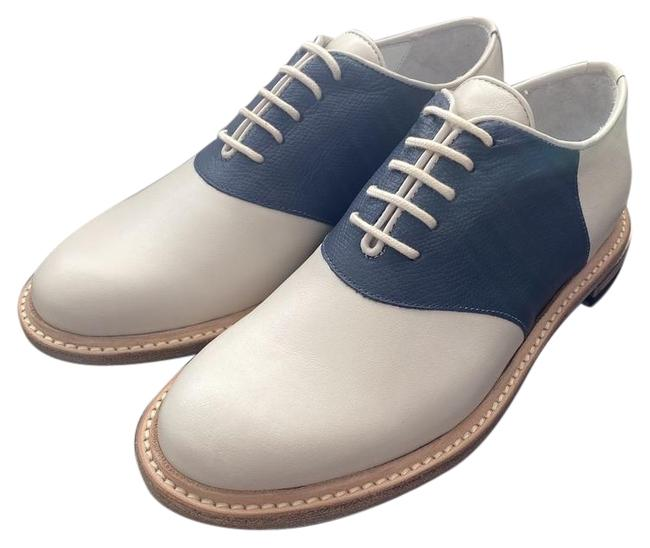 Item - Deep Midnight Blue / Off-white Slipped Heel Leather Saddle Formal Shoes Size EU 35 (Approx. US 5) Regular (M, B)