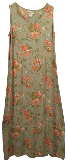 Item - Sage Green Orange Silky Summer Mid-length Casual Maxi Dress Size 4 (S)