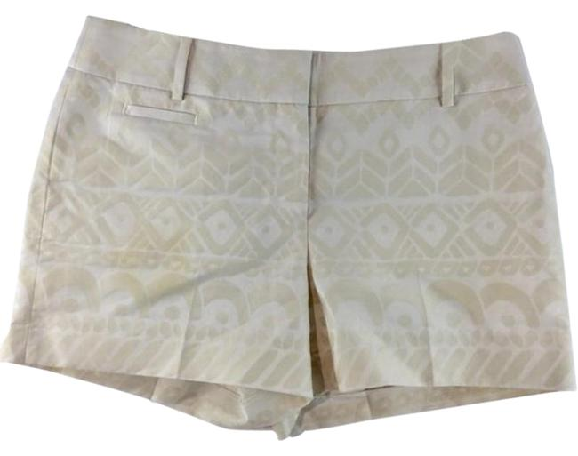 Item - Cream Tribal Print Zipper Shorts Size 6 (S, 28)