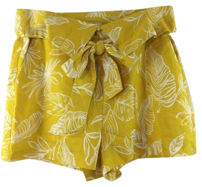 Item - Yellow & White L Leaf Print Pockets Tie Zipper Shorts Size 14 (L, 34)